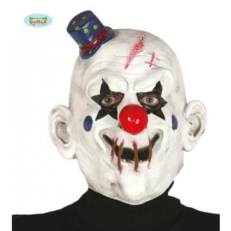 Masky - Latexová maska KLAUN biela s klobúčikom