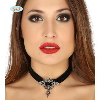 Bižutéria - Čierny náhrdelník s brošňou