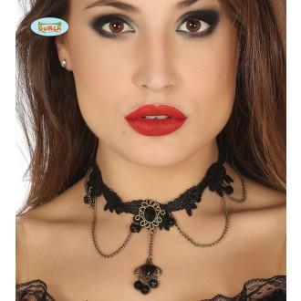 Bižutéria - Čierny náhrdelník s čiernym kameňom