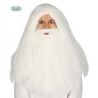 Parochne - Bílovlasá paruka vousy