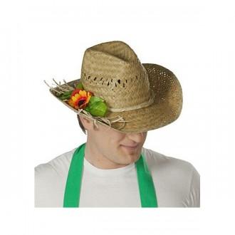 Klobúky - Slamený klobúk záhradný s ozdobou