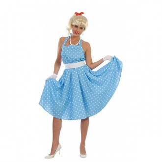 Kostýmy - SANDY - 60te roky - modrobiele šaty
