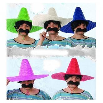 Klobúky - Mexický klobúk slamený jednofarebný (mix)