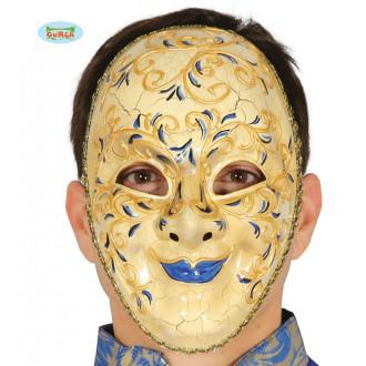 Masky - Dekoračná benátska maska s modrými perami
