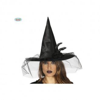 Čarodejnice - Čarodejnícky klobúk čierny s ozdobou