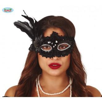 Masky - Čierna flitrová maska s perím