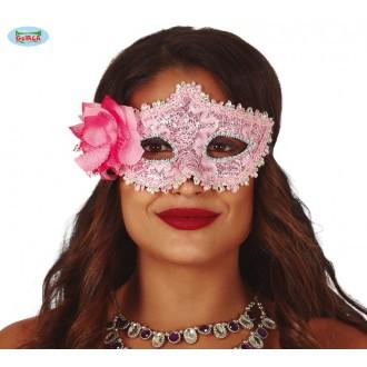 Masky - Ružová maska s kvetinou
