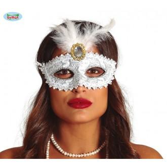 Masky - Biela maska s brošňou a perím