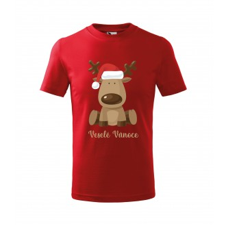 Kostýmy - Detské tričko Veselé Vianoce červené