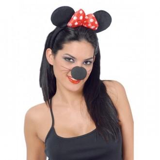 Doplnky - Myší uši na vlasové spone s mašľou Minie