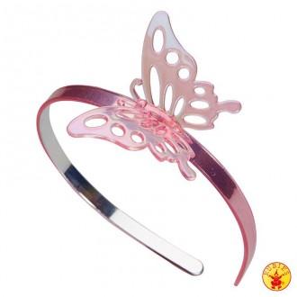 Doplnky - Čelenka ružová s motýlikom