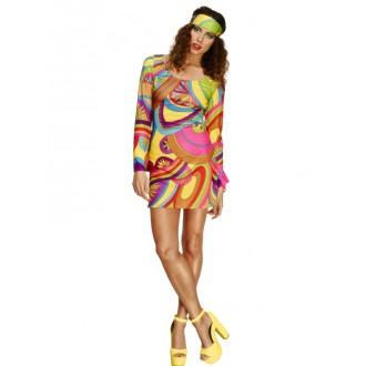 Kostýmy - Hippie šaty s čelenkou