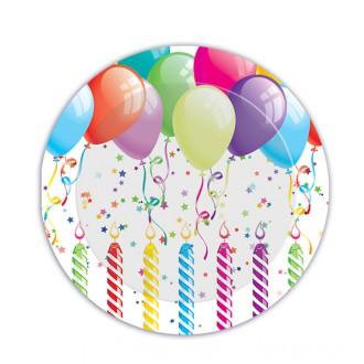 Párty doplnky - Párty Prestieranie - tanier s balóniky 23 cm,8 ks