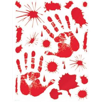 Halloween - Samolepiace krvný odtlačky 30 - 39 cm