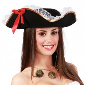 Klobúky - Pirátsky klobúk třírohý s mašľou a čipkou