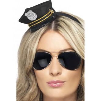 Klobúky - Policajný mini klobúčik na čelenke