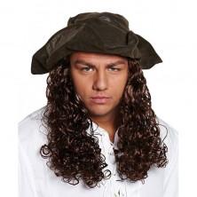 Pirátsky klobúk s vlasmi