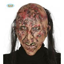 Latexová maska chorý ZOMBIE s vlasmi