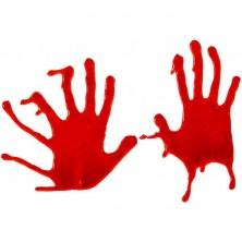 Dekorácie na sklo - krvavé ruky