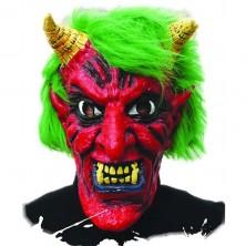 Maska čertovej latexová s vlasmi