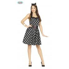 Čierne šaty s bodkami - 50-te roky