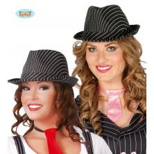 Čierny prúžkovaný klobúk so stuhou