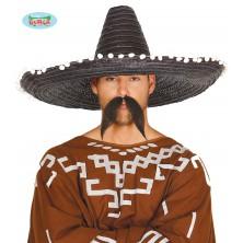 Mexický klobúk 60 cm s pomponem čierny