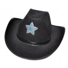 Kovbojský klobúk čierny s hviezdou
