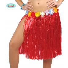 Havajská sukňa s kvetmi červená - 50 cm