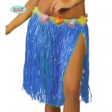 Havajská sukňa s kvetmi modrá - 45 cm