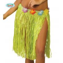 Havajská sukňa s kvetmi zelená - 45 cm