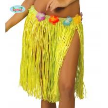 Havajská sukňa s kvetmi žltá - 45 cm