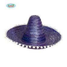 Mexický klobúk 60 cm s pomponem modrý