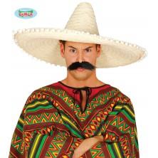 Mexický klobúk 60 cm s pomponem prírodnou