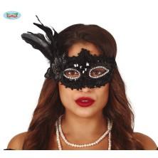 Čierna flitrová maska s perím