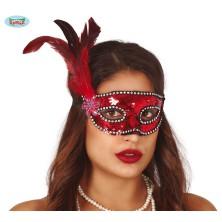 Červená flitrová maska s perím