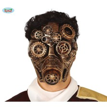 Maska zlatá s kolieskami Steampunk