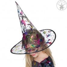 Čarodejnícky detský klobúk s metalickou potlačou