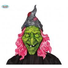 Maska veľká čarodejnica s ružovými vlasmi