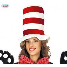 Červeno-biely klobúk dámsky