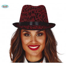 Červený leopardní klobúk