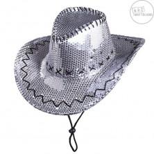 Flitrový klobúk kovbojský strieborný