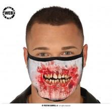 Rúško s krvavými ústami