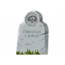 Halloweenska ceduľa hrob s lebkou