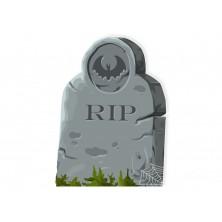 Halloweenska ceduľa hrob s netopierom