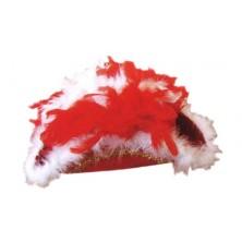 Třírohý klobúk s perím červený