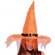 Oranžový klobúk s tylom
