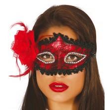 Maska s kvetinou červená