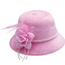 Dámsky klobúk s kvetom ružový