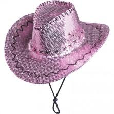 Flitrový klobúk kovbojský ružový